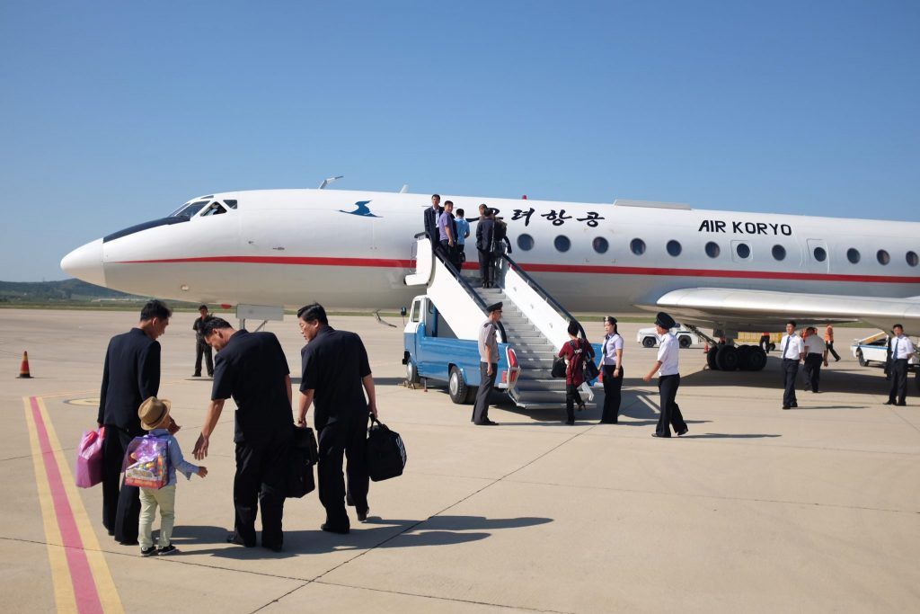 Departure with Air Koryo, airline of North Korea.