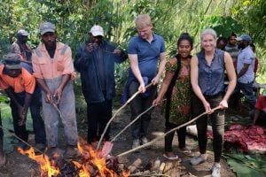 Papua new guinea BBQ with Rocky Road Travel on our mount hagen festival tour