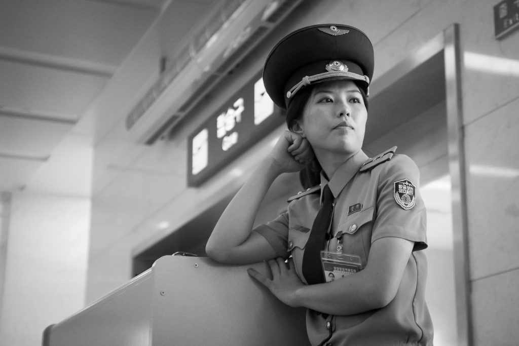 Air Koryo staff at Pyongyang airport on a North Korea tour
