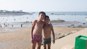 On a beach in North Korea