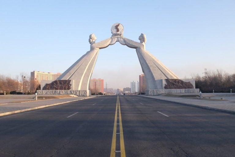 Monument along reunification highway, Pyongyang North Korea