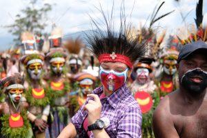 Tourist dancing on the mount hagen festival tour, Papua New Guinea