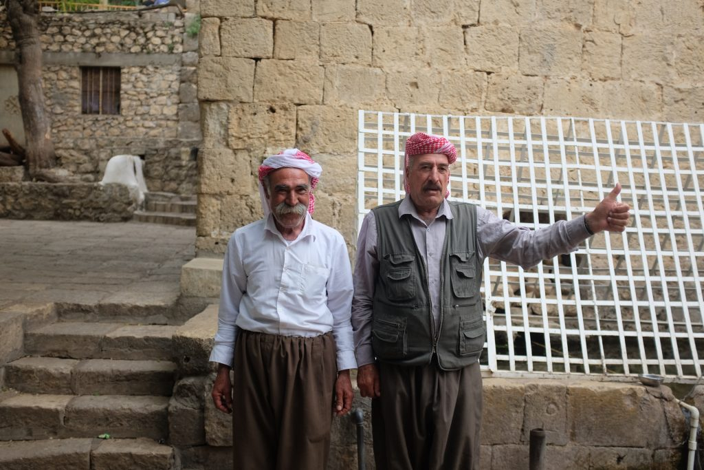 Yazidi men in Lalish. Seen on one of our Iraq tours