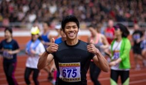 Foreign competitor at the Pyongyang Marathon, North Korea