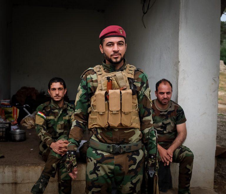The Kurdish Peshmerga protecting the Yazidi village of Lalsh. Seen on one of our Iraq tours