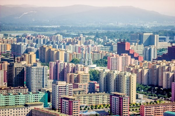 Pyongyang's pastal skyline seen from the Juche tower