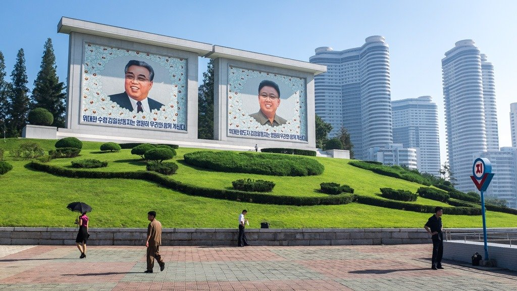 Mosaic murals of the leaders seen on a North Korea tour