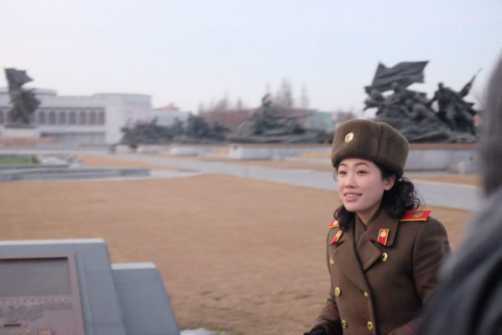 War museum guide in Pyongyang on a North Korea tour