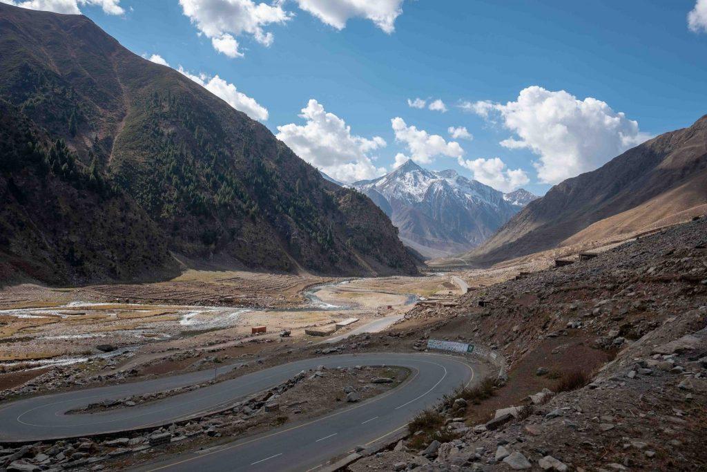 Karakoram Highway seen from our tour bus in Pakistan
