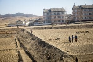 View from a train ride through north Korea with Rocky Road Travel