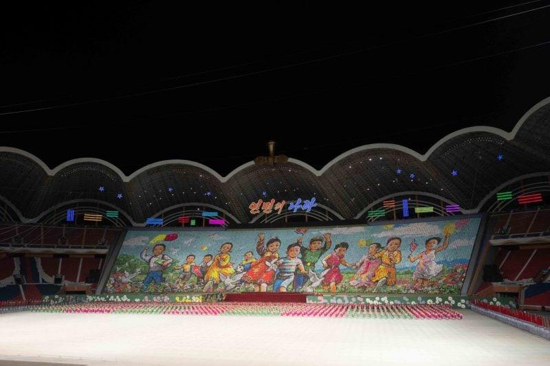 Thousands of schoolchildren perform a mass display in Pyongyang, North Korea.