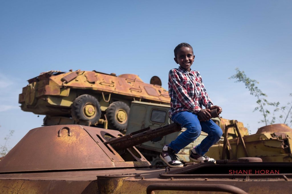 Playing with a tank in Eritrea