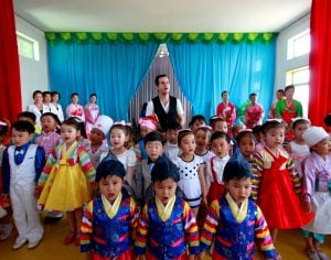 Performance at a school in Chongjin, visited on one of our North Hamgyong Tours
