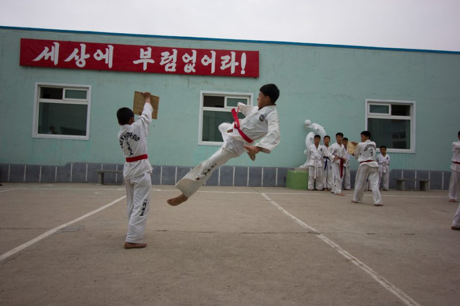 Taekwondo demonstration in Rason, North Korea