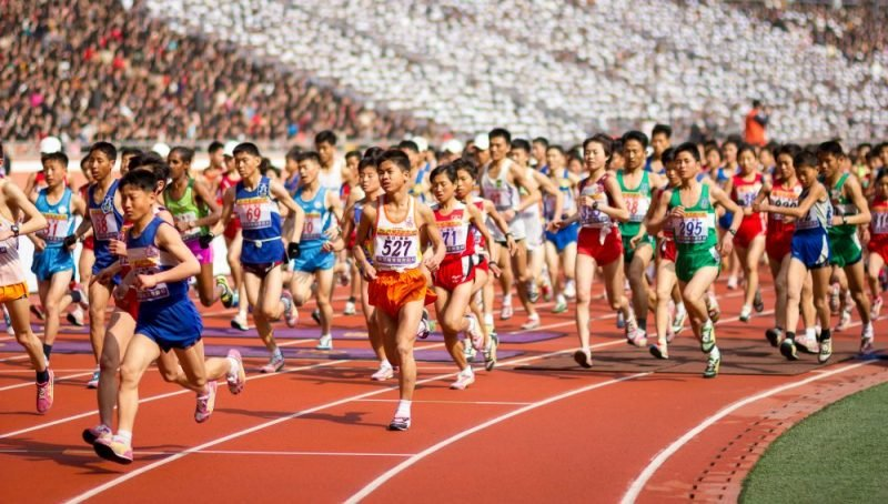 Local North Korean athletes take to the track in the Pyongyang Marathon