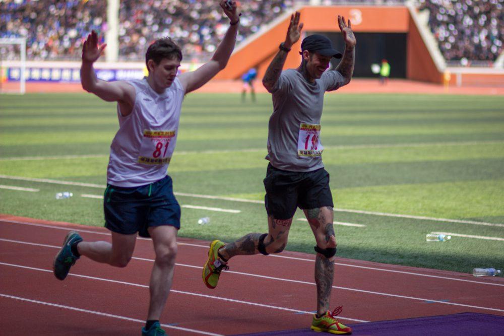 International runners cross the line at the Pyongyang Marathon