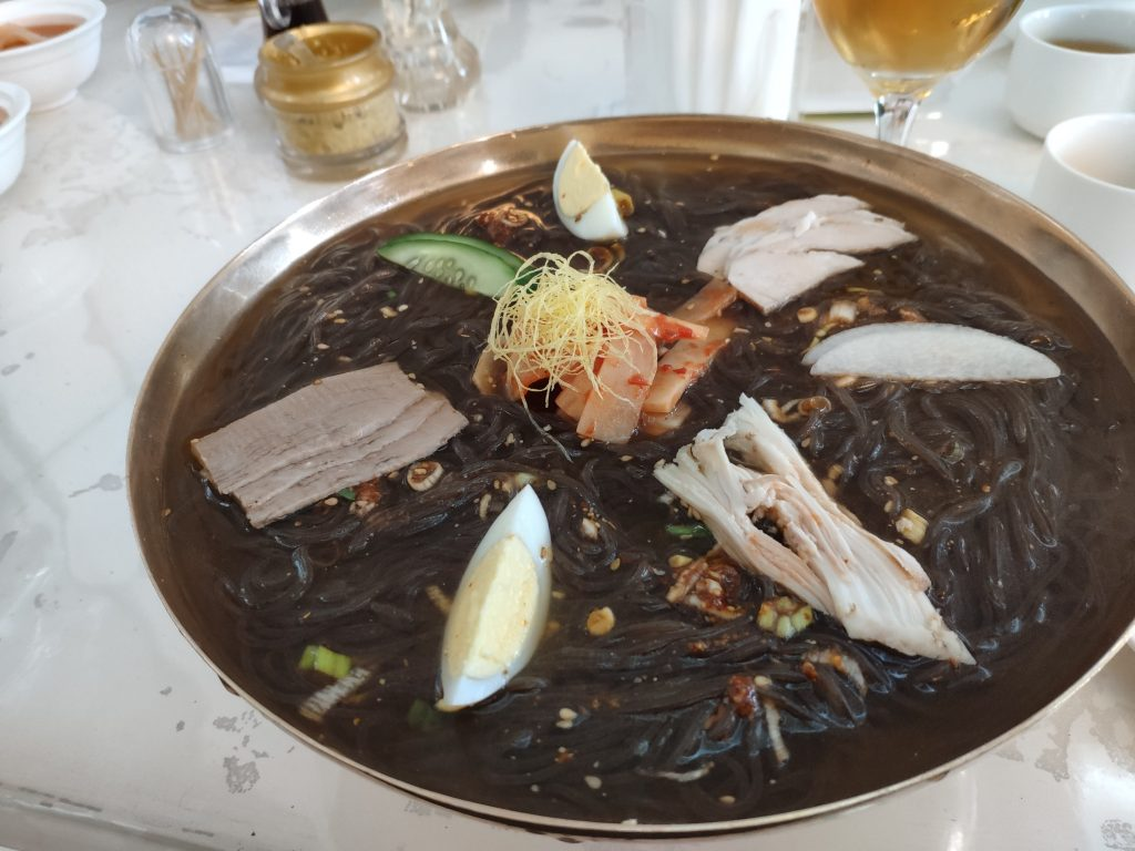 Pyongyang cold noodles served on a north korean tour