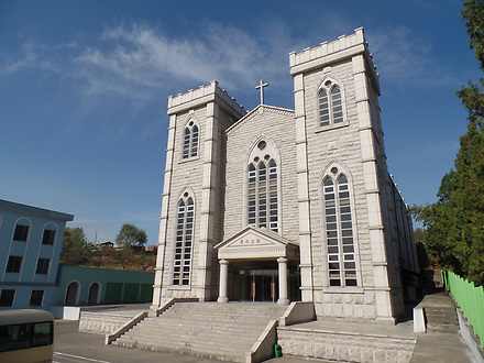 Bongu church, pyongyang. Christianity is a religion in North Korea