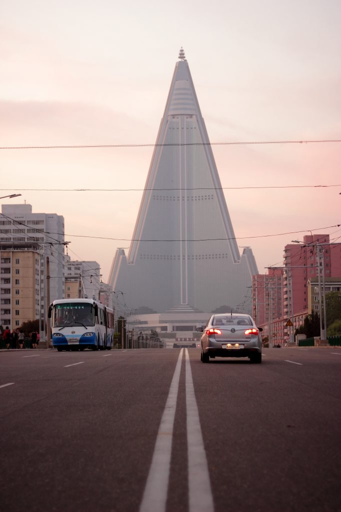 Ryugyong hotel at dusk, North Korea