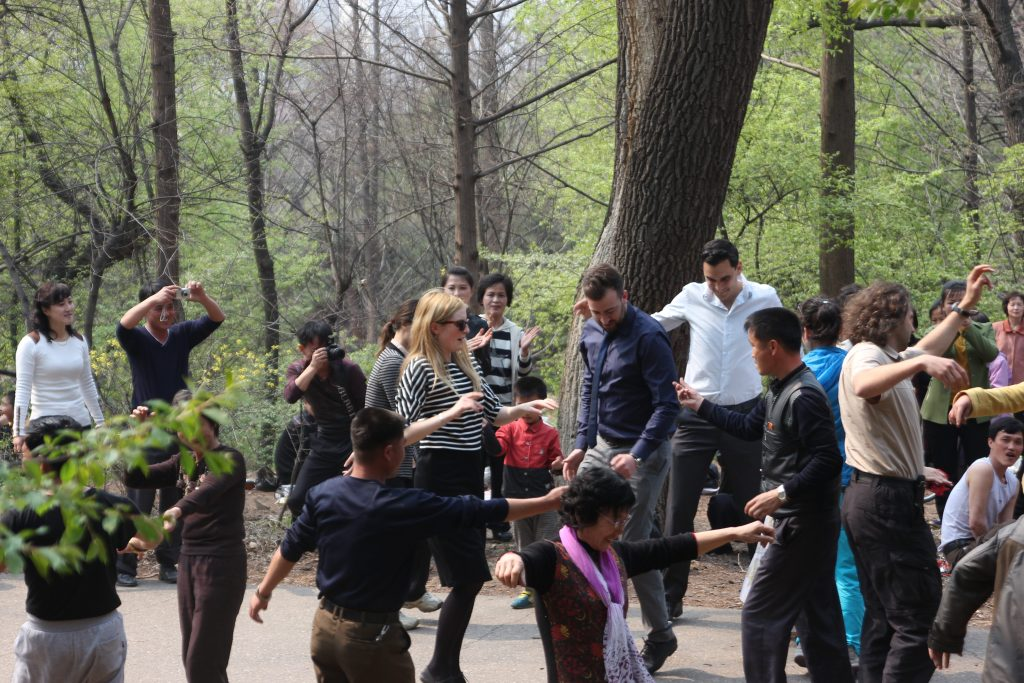 Dancing in Moran hill, Pyongyang on the day of the sun