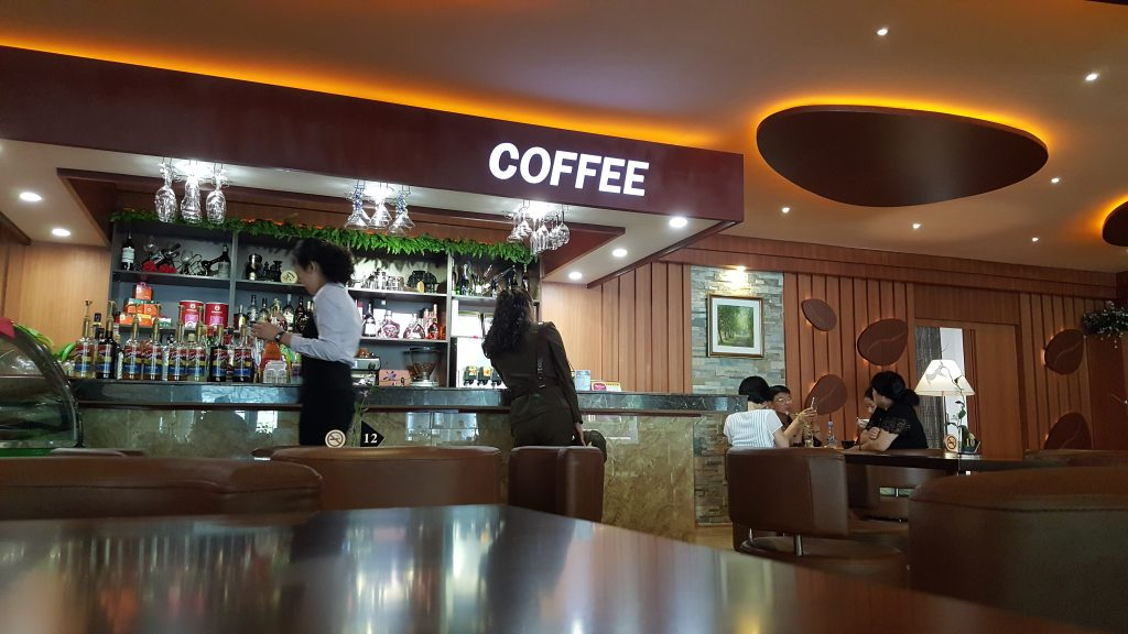 cafe in Pyongyang airport, North korea