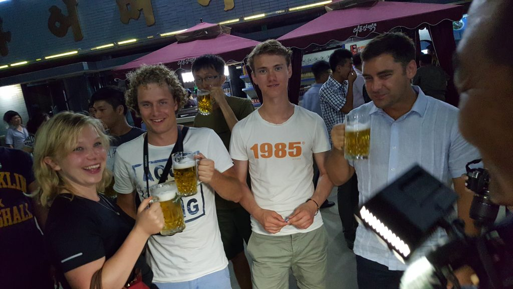 Tourists at the Pyongyang beer festival in 2016