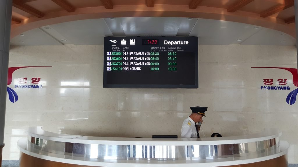 Domestic flight to Samjiyon on the departure board, Pyongyang