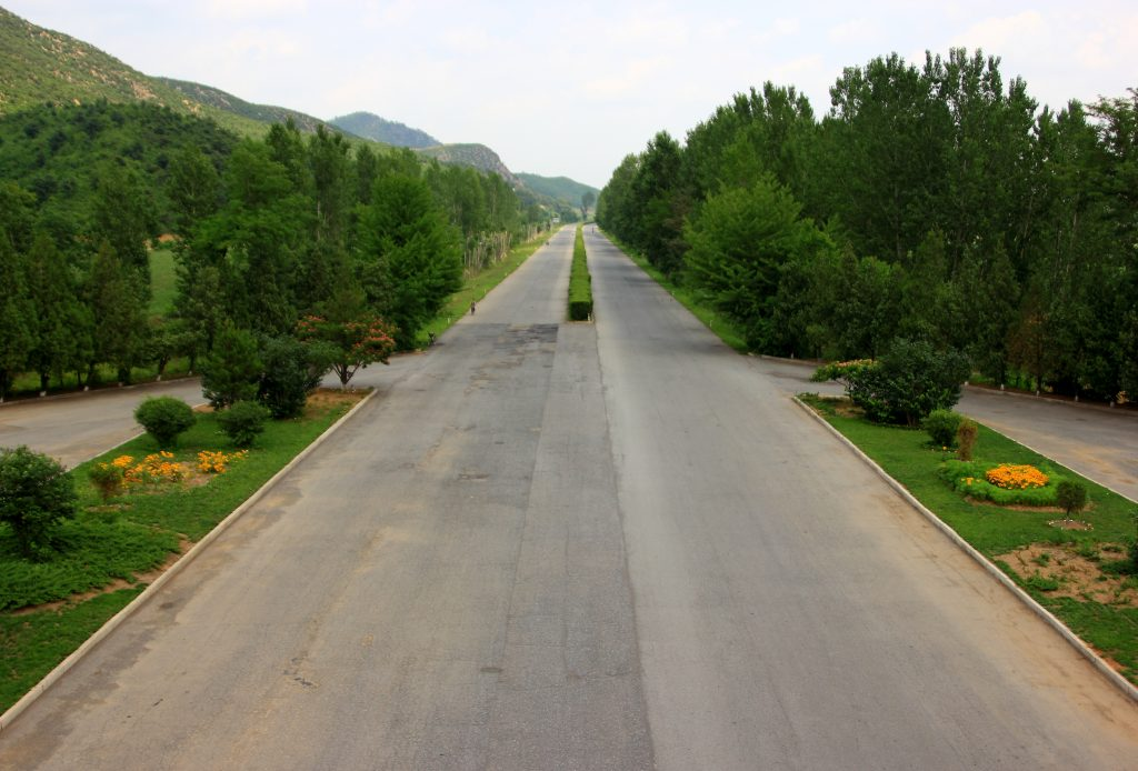empty road to the North Korean DMZ
