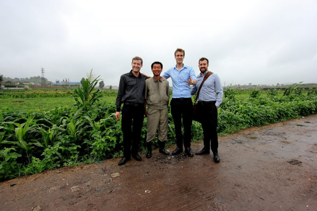 foreigners visiting a farm in North Korea