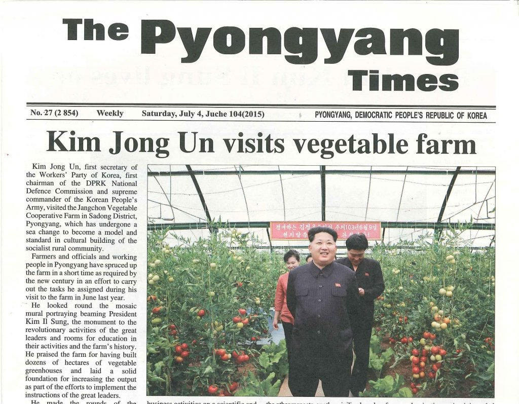 Pyongyang times - a newspaper in North Korea