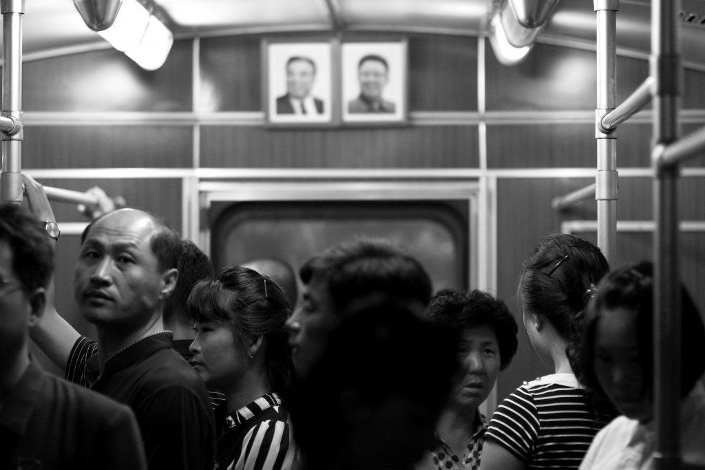 Leader portraits seen on the Pyongyang metro