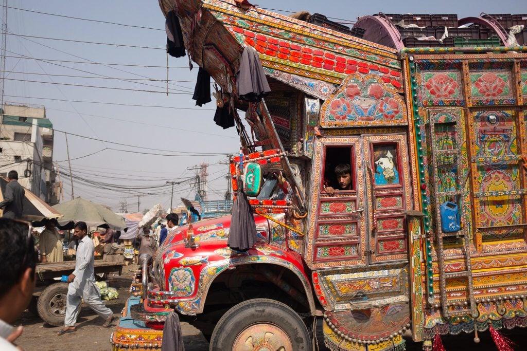 Colorful truck on the Karakoram Highway in Pakistan