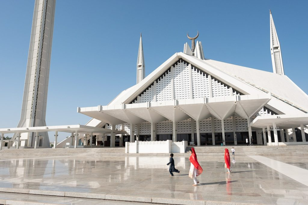 Kids playing at Faisal Mosque in Islamabad