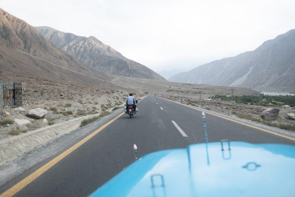 Driving along the Karakoram Highway in Pakistan