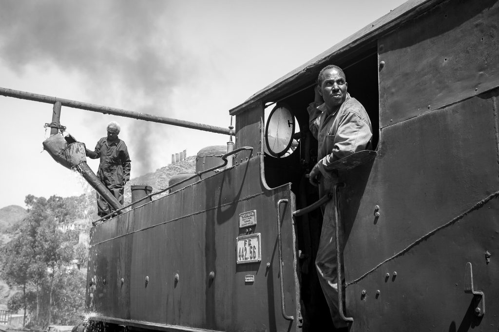 Engineers on the Eritrean steam train