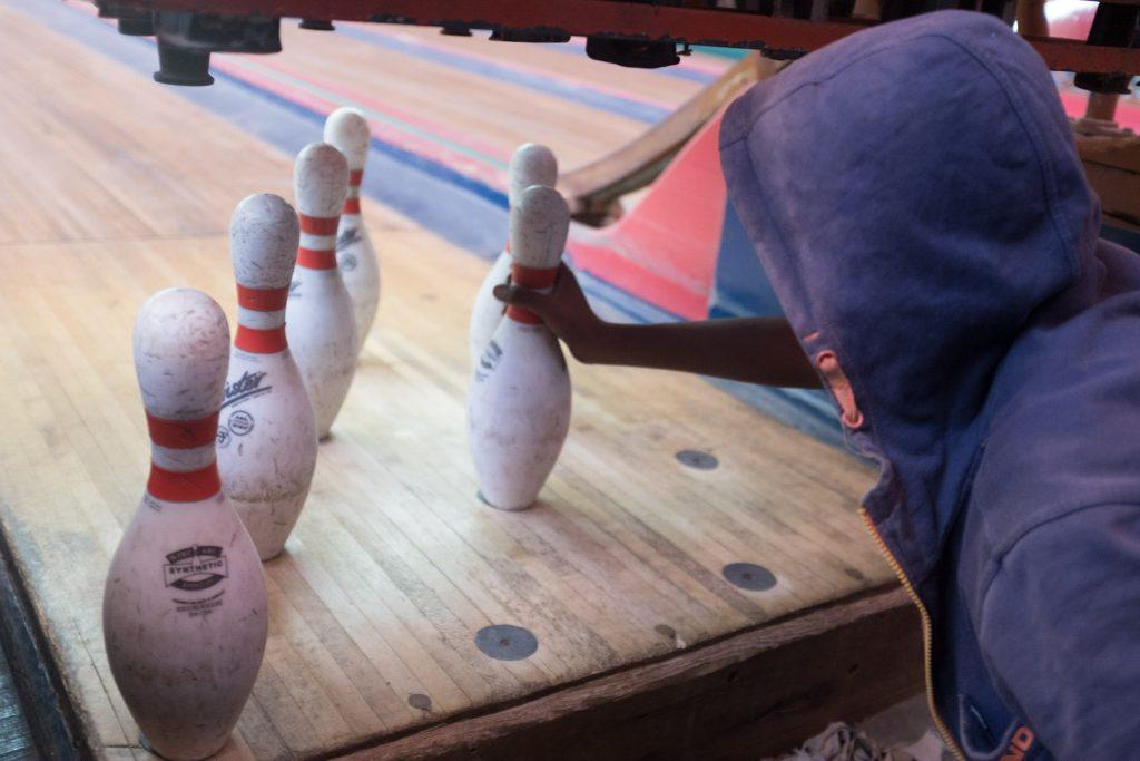 Kids replacing bowling pins in Asmara, Eritrea
