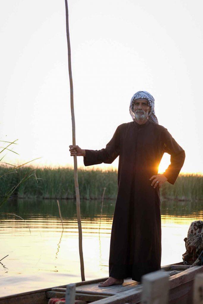 boatman in the Iraqi marshes