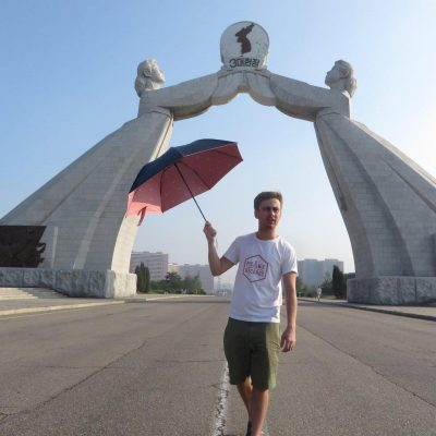 Tourist at the reunification monument, Pyongyang